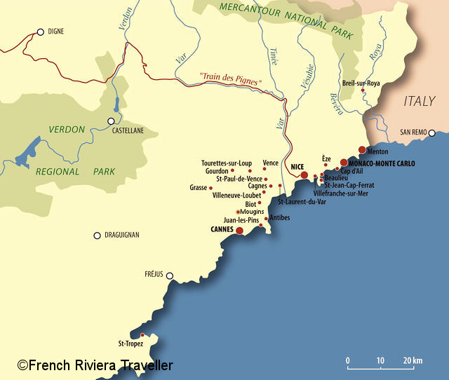 Map 0f South Of France.French Riviera Map