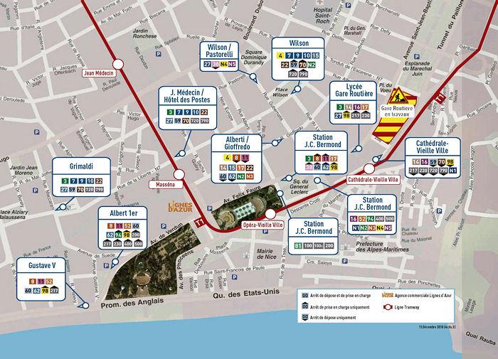 Nice: Central Bus Stop Map on las vegas monorail stops map, atm map, metropolitan map, multi-stop map, subway stop map,